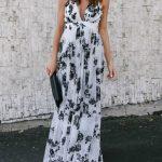 White Summer Maxi Dresses Floral Printed Backless V-neck Floor-length Slip Long  Dress | Classyin
