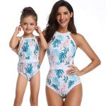 Mommy and Me One Piece Bikini Set Family Matching Swimwear Baby Girls  Halter Printed Swimsuits 2