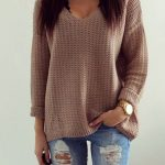 Coffee Plain Hollow-out V-neck Long Sleeve Loose Vintage Casual Pullover… |  fall/winter clothes | Sweaters, Pullover, Clothes