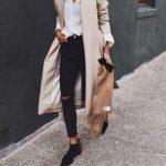 coat tumblr nude coat long coat jeans black jeans boots black boots ankle  boots flat boots
