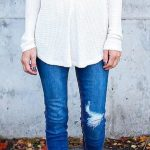 White V-neck Blouse // Ripped Skinny Jeans // Ankle Boots Source