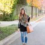 light weight blanket scarf, AG distressed skinny jeans, grey leather ankle  booties, tory