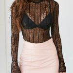 Black Sheer Lace Flare Sleeve Sexy Top