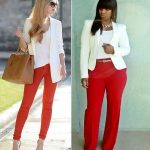 ways to wear red pants outfits