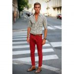 For a pop of color, wear red pants with a checked black and white shirt  with your brown shoes. Match your brown shoes with Shoe String King stylish