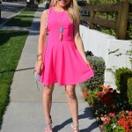 girl in hot pink dress and floral pumps