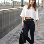 @roressclothes closet ideas #women fashion Crop Top Outfit Idea with Black  Sneakers