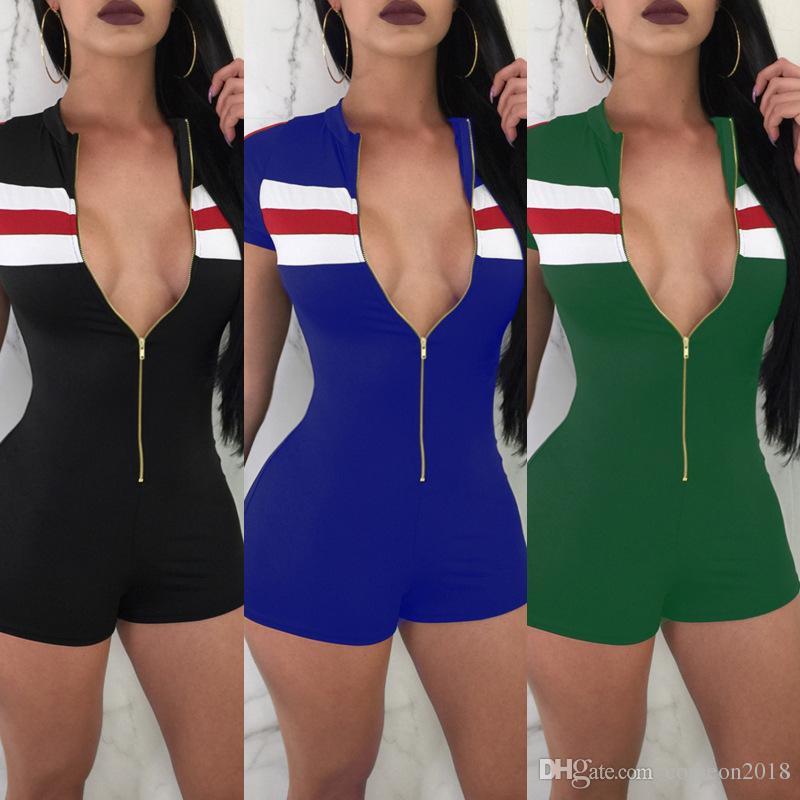 2018 Summer Women Jumpsuits Rompers High Waist Short Hot Pants Stand Collar  Hollow Out Zipper Rompers Womens Jumpsuit Casual Bodycon M2355 From  Comeon2018,