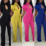 2019 Summer Womens Rompers High Waist Wide Leg Pants Stand Collar Hollow Out  Rompers Womens Jumpsuit Lotus Leaf Overalls Casual Bodycon M2355 From