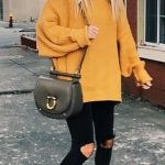 Street style outfits, fall outfits, back to school, cute outfits for  school, mustard sweater, yellow sweater, oversized sweater outfit, casual  outfits, fall