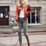 bronze bomber jacket fall outfit street style bmodish