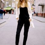 Fall / Winter Outfit Idea: Amazing black velvet jumpsuit paired with a  lightweight jacket, + minimalist black and white platform sandals