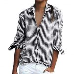 Mikey Store Women Summer Long Sleeve Striped Shirts Casual Button Down Tops  (Small, Gray