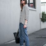 A blogger-approved way to wear a striped tee, boyfriend jeans, tote and  ankle strap heeled sandals