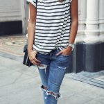 What To Wear With A Pair Of Black Heels Bag Plus Striped Tee Plus Boyfriend  Jeans