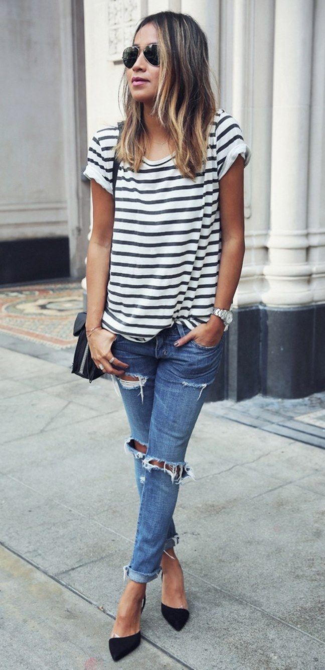 Striped Tops And Boyfriend Jeans