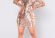 Expose Sequin Dress - Rose Gold Fashion Nova