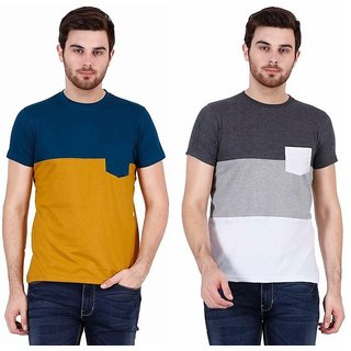 Buy Combo of 2 Stylogue Men's Round Neck T-shirt (Blue- Mustard