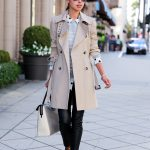 trench coat with chic top and leather trousers