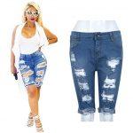 Challyhope Women Hot Shorts Clearance! Ladies Summer Ripped Hole High Waist  Short Jeans Bermuda Denim