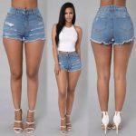 Women Summer Slim Denim Pants Ripped Jeans Shorts