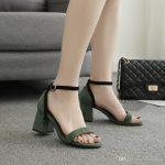 2017 Summer Sandals Lady Dress Shoes Women Pumps Heels Suede Open Toe  Chunky High Heels Festival Party Shoes Formal Pumps Sandals W17S015 Wedges  Shoes Nude
