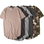 2017 Summer Solid Curved Hem Camo T Shirt Men Longline Extended Camouflage  Hip Hop Tshirts Urban Kpop Tee Shirts Mens Clothing Cool T Shirts For Boys  Online