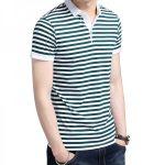 2018 Summer New Fashion Striped Turn Down Collar Tee Shirts Short Sleeve T  Shirt Men Genuine