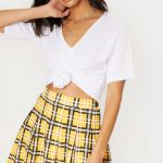 Yellow Check Tennis Side Split Skirt