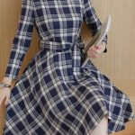 Belt Design Plaid Print Long Sleeve Dress Shop Now: Traveller Location