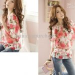 Fashion Women Ladies Casual Floral Chiffon Shirts Tops Summer Short Sleeve  Red Flower Print Beige Blue
