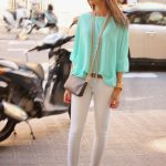 Chiffon Blouse Outfit Idea in Mint