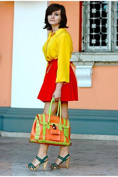 green Zara sandals - yellow vintage shirt - red River Island skirt
