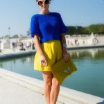 yellow bag - blue shoes - white sunglasses - yellow skirt - blue top