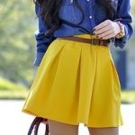 blue jean shirt/yellow skirt