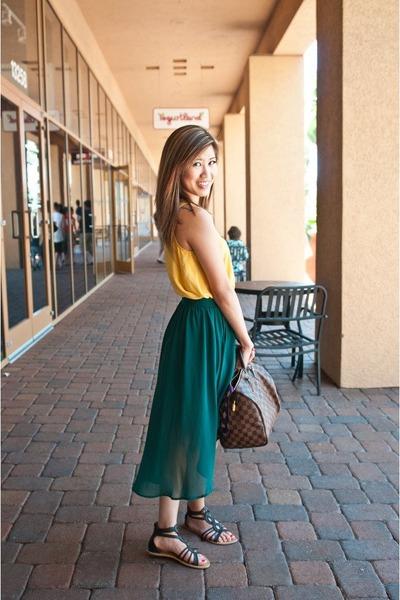 dark green hi-low skirt Forever 21 skirt - yellow G stage shirt