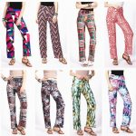2019 2017 Fashion Women Spring/Summer Pants Printing Straight Long Trousers  Teen Girls Tall Waist Panty Look Thin 12 Styles To Chose From Xiami1016,