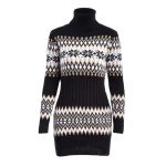 2019 WKOUD 2018 Winter Turtleneck Sweaters Dresses Women Snowflake Printed  Knitted Pullovers Long Sleeve Sweaters Loose M8066 From Smotthwatch,