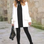 White Coat with Black Velvet Leggings