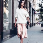 Annabelle Fleur is wearing a gorgeous silk slip dress, paired with an off  the shoulder