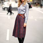 striped shirt with plaid skirt