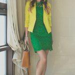 green OASAP dress - yellow vivilli blazer - green PERSUNMALL earrings