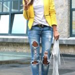 Ways To Wear Distressed Jeans. #summer #fashion ripped jeans yellow blazer  outfit