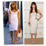 A solid white base leaves lots of room to play with bracelets of varying  sizes, colors and textures. Eva Mendes upped the old-school glamour factor  with a