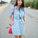How to wear denim shirt dress summer outfit - Visit Traveller Location for  more outfit photos and style tips