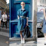 Three easy ways to wear denim dresses. Photos: Marc Piasecki/WireImage and  Imaxtree