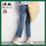 Lady′s Summer Popular Cotton Loose Nine Pants Jeans
