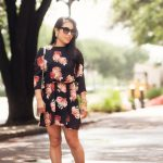 cute & little blog | petite fashion | sheinside black floral chiffon dress,  tory burch