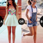 Which outfit would you wear to a beach party #Skirt or #shorts? Vote on  Baetter App.