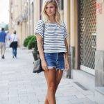 Striped oversize tee, jean cut offs, Ankle Boots